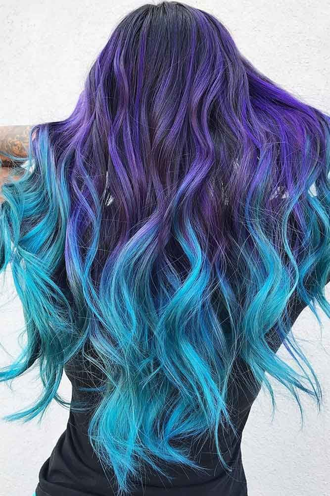 41 Ethereal Looks With Blue Hair Blue Ombre Hair Blue Purple