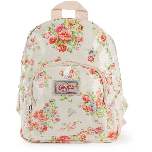 Cath Kidston Light Pink Cranham Mini Backpack ($24) ❤ liked on Polyvore featuring bags, backpacks, cargo bag, cath kidston backpack, flower print backpack, dot backpack and floral backpack