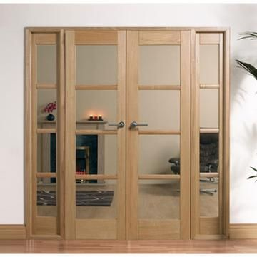 Image of W6 Oslo Oak Room Divider - Demi Side Panels - Clear Safety Glass, Fully Decorated