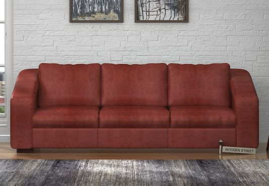 Get amazing 3 seater sofa to revive your living room. The Copley 3 Seater Sofa in leatherette with touch of Burnt Umber is a nice option as with its solid appearance it would add dimension to the area. Buy three seater sofa online at #WoodenStreet from #Bangalore #Chennai #Jaipur