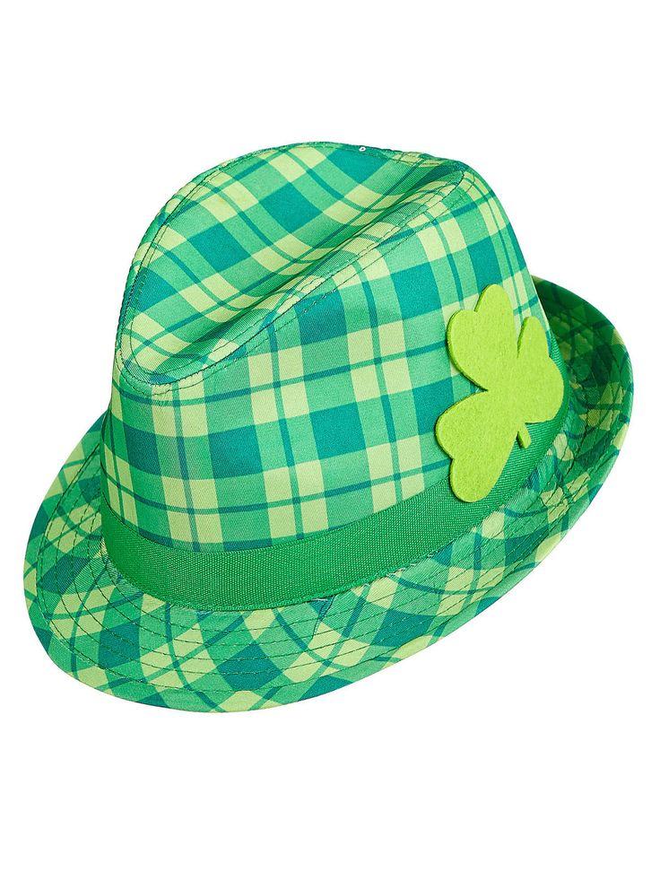 Fedora Hut mit Kleeblatt St. Patricks Day grün. Aus der Kategorie Karnevalshüte. Wenn Sie für die St. Patrick's Day Fete noch nach einem schicken Accessoire suchen, sollten sie bei diesem grün-karierten Fedora Hut unbedingt zuschlagen.