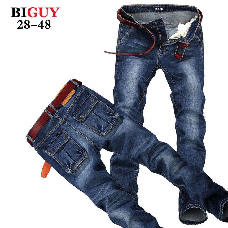 24.38$  Buy here - http://alindf.shopchina.info/1/go.php?t=32582542206 - Big Guy Store Large Plus Size 42 44 46 48 Blue Elastic Men Jeans Slim Fit Straight Denim Pants cheap Men's Jean Skinny Homme  #buychinaproducts