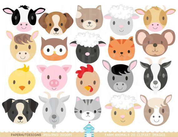 Farm Animal Faces Clipart Farm Animals Clip Art Nursery Clip Etsy Farm Animal Crafts Baby Farm Animals Animal Crafts For Kids