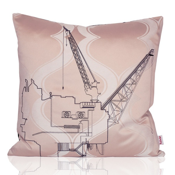 Pink textile with design embroidered in black thread - black backside. MADE IN NORWAY - Limited edition, 44 x 44 cm.