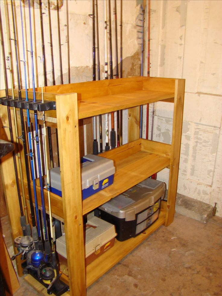 Wood fishing rod racks home woodworking projects plans for Fishing rod rack