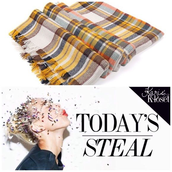 Today's steal  Plaid blanket scarf Fall So gals, it looks like you cleaned me right out of my red and camel scarves! In only a few days, my cozy bundles were SOLD! Well the trendy style you loved is not only back again, but in a warm fall palette for the LOW price you'd get in-store! Crowd favorite plaid design will keep you warm in this chilly weather❄️get ready❄️get yours! Brand new in plastic. No brand or tags Accessories Scarves & Wraps
