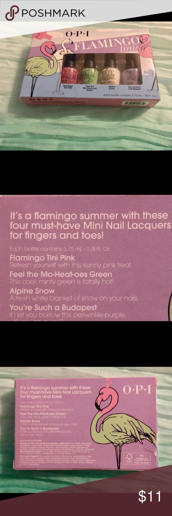 """OPI Nail Lacquer Flamingo 'Tini' Bottle Set~NEW!! What a fun gift..""""ADD A BOW & YOU'RE GOOD TO GO""""...This nail polish gift set is premium quality from one of the TOP Name Brands in Nail Polish/Nail Care..OPI! There are FOUR 'tini' bottles in this set. Each bottle contains 3.75 mL (1/8 oz.) of beautiful nail polish. See the close up pix for color names. PLUS---yep! As always, a """"free """" treat (or treatS) come with every order from my closet! OPI Other"""