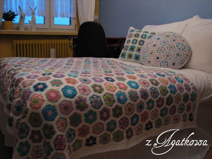 African Flower Blanket and Cushion, Granny Square Cushion