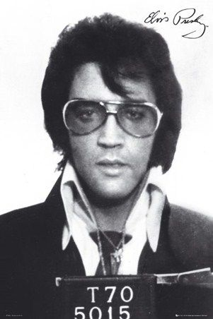 Featuring a face that is always recognisable, this vintage black and white mugshot offers a great insight into the life of Elvis Presley and his good time boy image. With a rather glum look on his face, the king of rock n roll looks ultra cool in this retro snap that is sure to thrill any fan of the legendary musician. Sporting his iconic hairstyle and stylish glasses, Elvis captures the essence of cool, calm and collected in this timeless image.