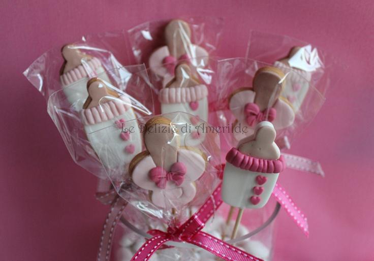 "Le Delizie di Amerilde. Baby Cookies. ""A Baby Girl is born"" Cookies from www.ledeliziediamerilde.it"