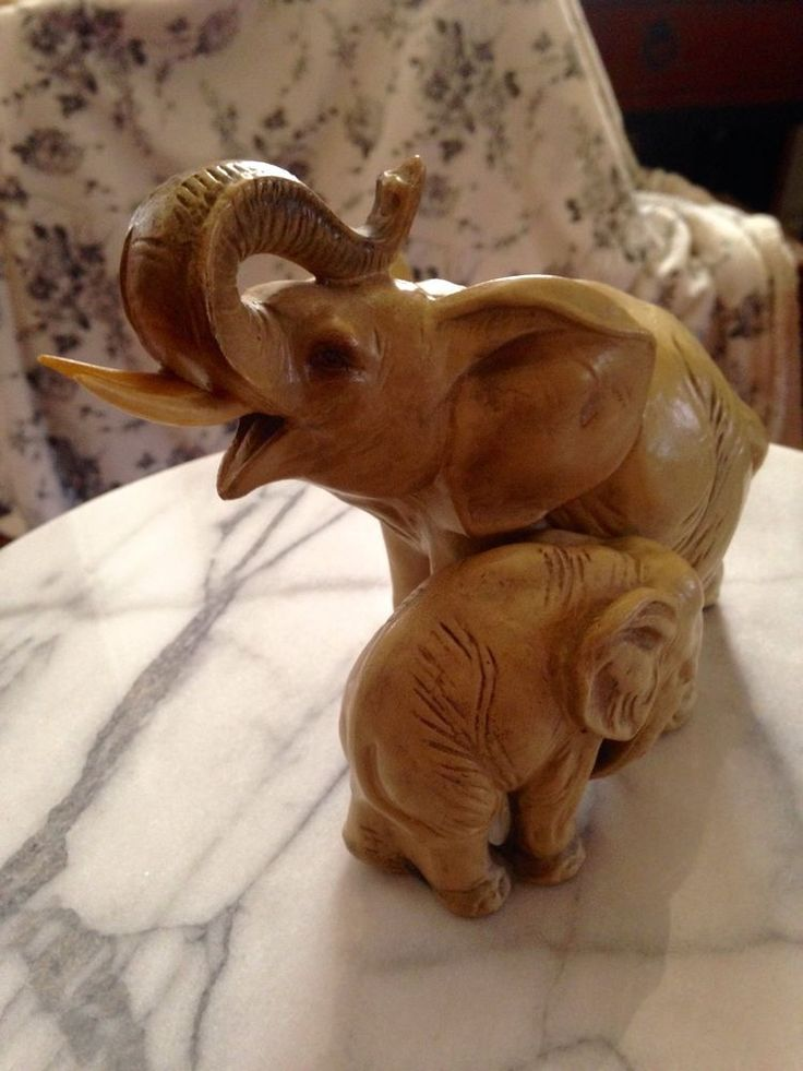 Mother Baby Elephant Figurine Mother Trunk Up Baby Trunk Down   eBay