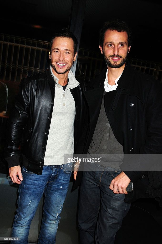Actors Stephane Rousseau and Arie Elmaleh attend the Hotel 'Domaine de Lonvilliers - Saint Martin' Launch Cocktail at the Maison Blanche on November 8, 2010 in Paris, France.