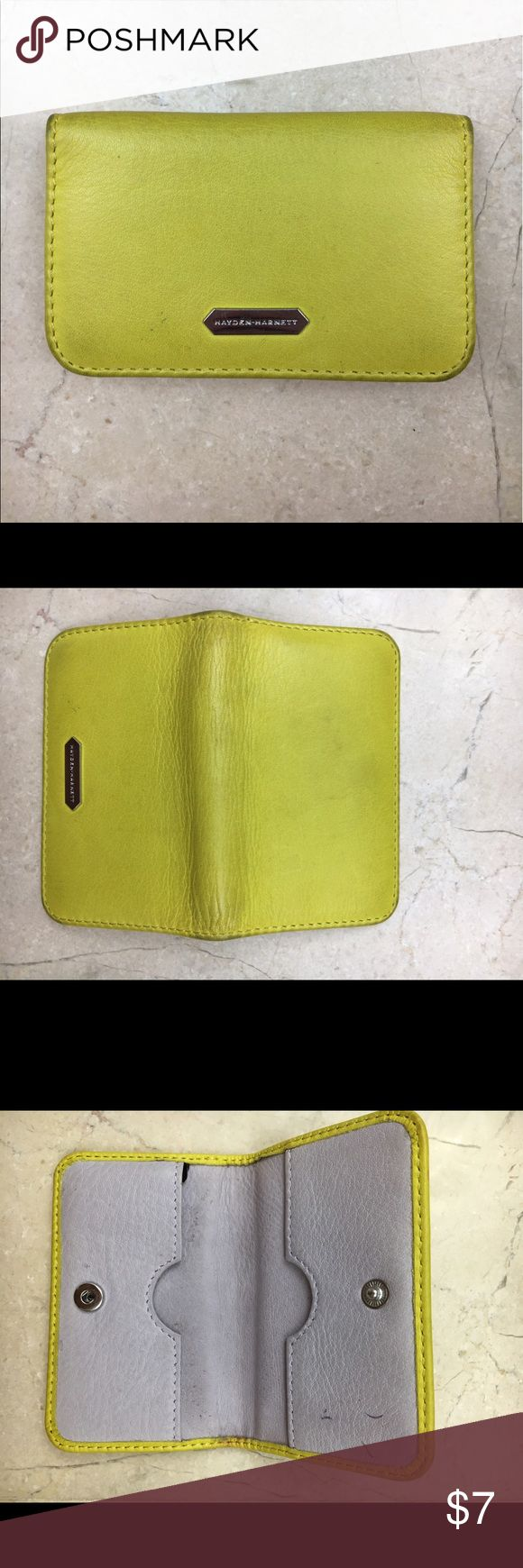 Hayden Harnett leather card case Snap closure.  2 sided card case.  Signs of wear as shown; reflected in price.  Lemon color Hayden Harnett Bags Wallets