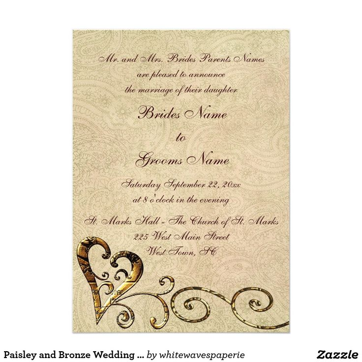 Paisley and Bronze Wedding Invitations