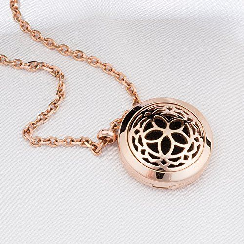 Rose Gold Aromatherapy Necklace - Hypoallergenic Essential Oils Magnetic Pendant Locket