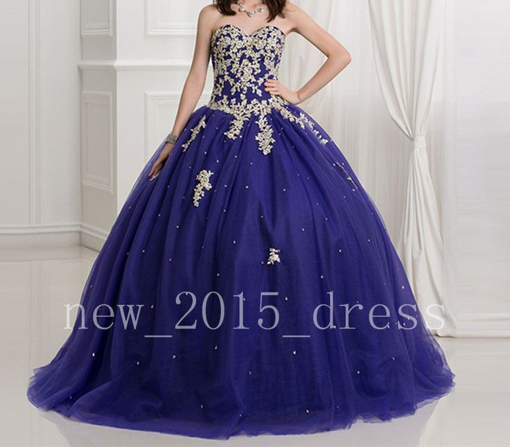 Royal blue Quinceanera Gold Applique Dresses Ball Gown Prom Dress Party Pageant | Clothing, Shoes & Accessories, Women's Clothing, Dresses | eBay!