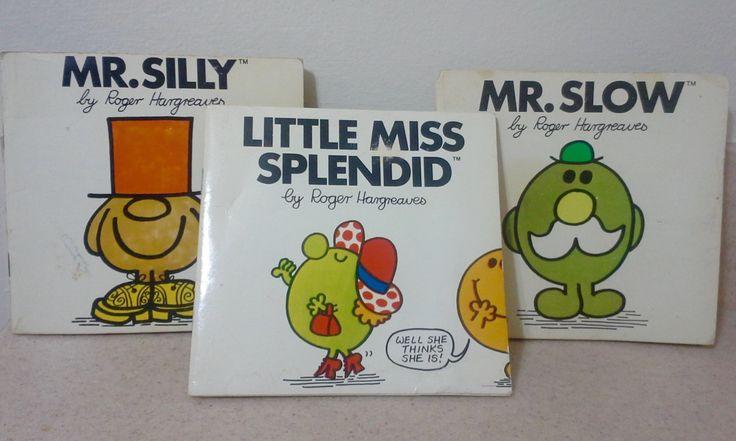 Set of 3 1980's Little Miss and Mr. Men Books, Little Miss Splendid, Mr. Silly, Mr. Slow, Roger Hargreaves Books, Little Miss Books, Mr. Men by Lalecreations on Etsy