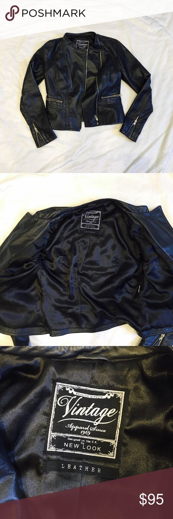 New Look Vintage Leather Jacket Leather peplum jacket. So cute and flattering. Made from real leather. Fits like a small/US 4. Bundle and save or make me an offer xx New Look Jackets & Coats
