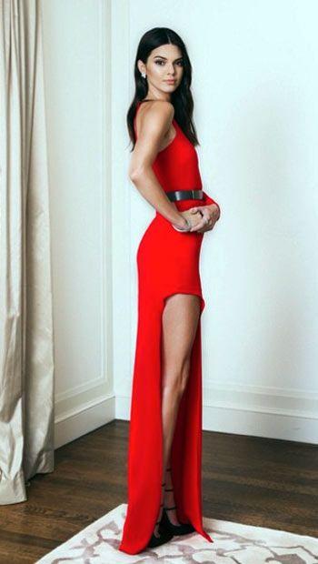 Kendall Jenner high cut thigh split red dress