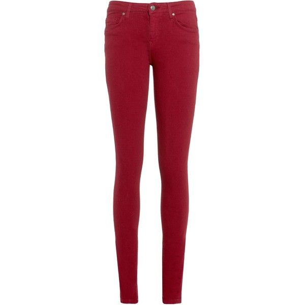 Tommy Hilfiger Como jeans ($130) ❤ liked on Polyvore featuring jeans, bottoms, red, sale, red skinny leg jeans, skinny jeans, stretch denim jeans, tommy hilfiger and skinny fit jeans