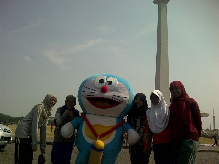 car free day at monas jakarta,, with doraemon
