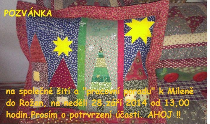 vánoční polštář s pozvánkou