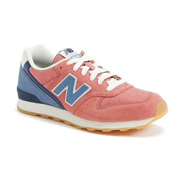 New Balance '696' Sneaker ($85) ❤ liked on Polyvore featuring shoes, sneakers, new balance sneakers, new balance trainers, suede lace up shoes, lace up shoes and lacing sneakers