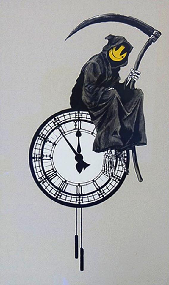 Time is an illusion! Street Art by Banksy. tatuajes | Spanish tatuajes |tatuajes para mujeres | tatuajes para hombres | diseños de tatuajes http://amzn.to/28PQlav