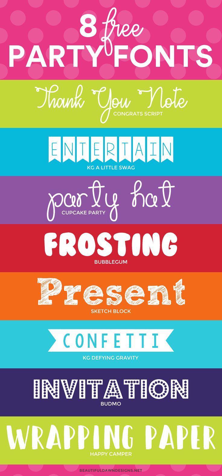 8 free party fonts. Free fonts. Free script fonts. via @tiffany_griffin