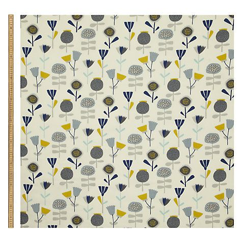 Buy John Lewis Chloe's Flowers Fabric, Ochre Online at johnlewis.com
