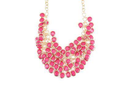 Růžový náhrdelník OJJU Cristallina