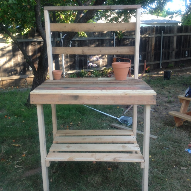 Diy potting bench for the garden pinterest Outdoor potting bench