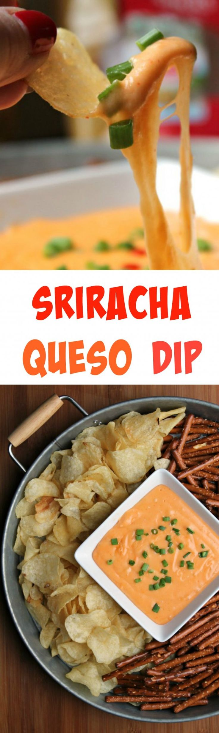 Sriracha Queso Dip  -  A flavor boost by way of Sriracha gives this easy queso recipe a whole new flavor!  Easy to make and always a crowd pleaser.  This is a great nibble for those Big Game Days!  #ad #TheNewFanFavorites @snydershanover @capecodchips