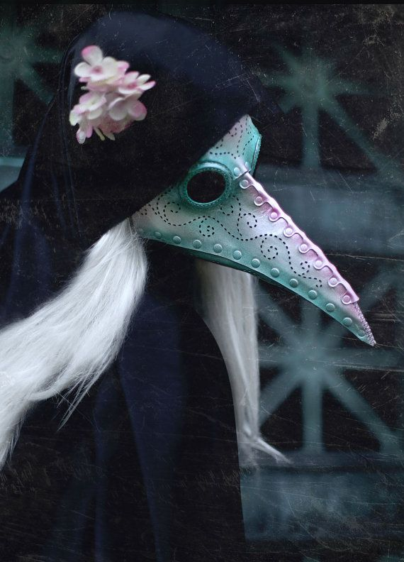 Pearlescent Plague Doctor leather mask in white, pink and green