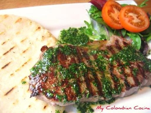 Carne Asada con Arepa or Grilled Beef with Corn Dumplings. Cocina Colombiana
