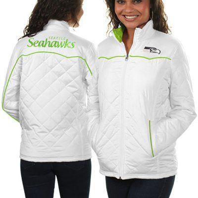 Seattle Seahawks Ladies Spectator Quilted Full Zip Jacket - White