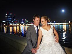 City skyline wedding shot #perth #lights