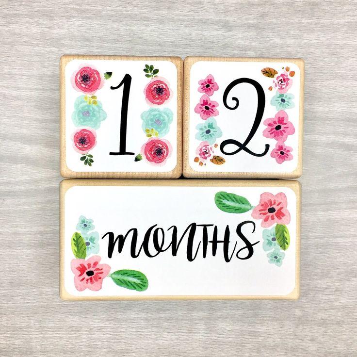 Pink and Aqua Flowers | Baby Milestone Blocks