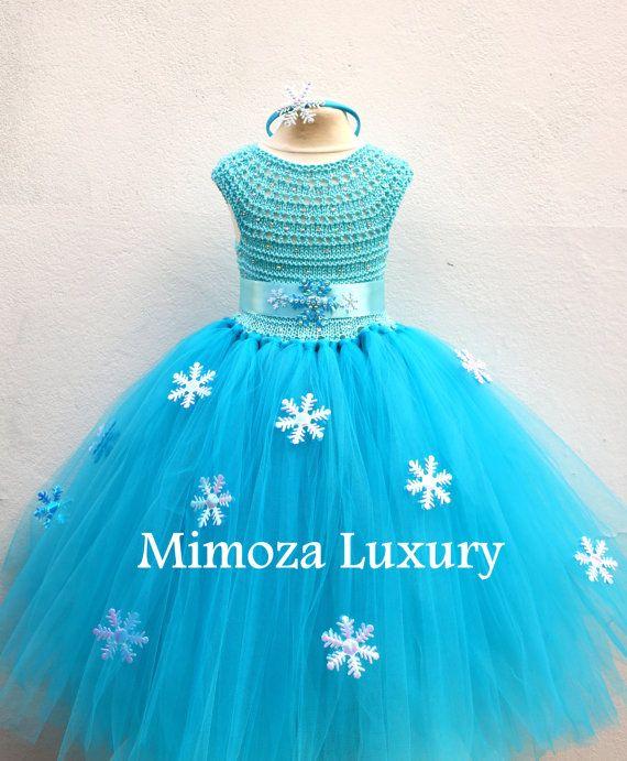 Elsa Deluxe Princess turquesa tutu vestido por MimozaLuxury en Etsy