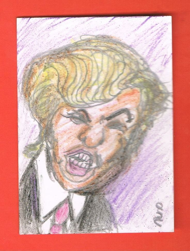 ACEO original Donald Trump Sketch Card Colored Pencils by nuno #Miniature
