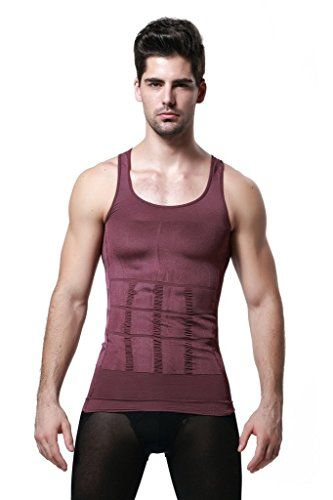GKVK Mens Slimming Body Shaper Vest Shirt Abs Abdomen Slim Purple Lchest size 96cm101cm38inches40inches * You can get more details by clicking on the image.