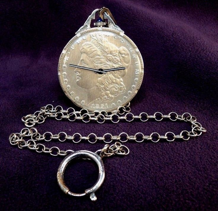 Serviced~Authenic 1891 Morgan Silver Dollar Coin~17J SWISS Pocket Watch & Chain #Unbranded