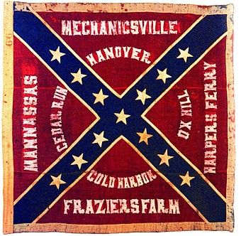 """American Civil War flag    This flag is a true veteran of the Battle of Gettysburg. It was captured by Union troops on July 3 during """"Pickett's Charge"""". Today it resides in the Museum of the Confederacy in Richmond, Virginia.    (photo courtesy of Museum of the Confederacy)"""