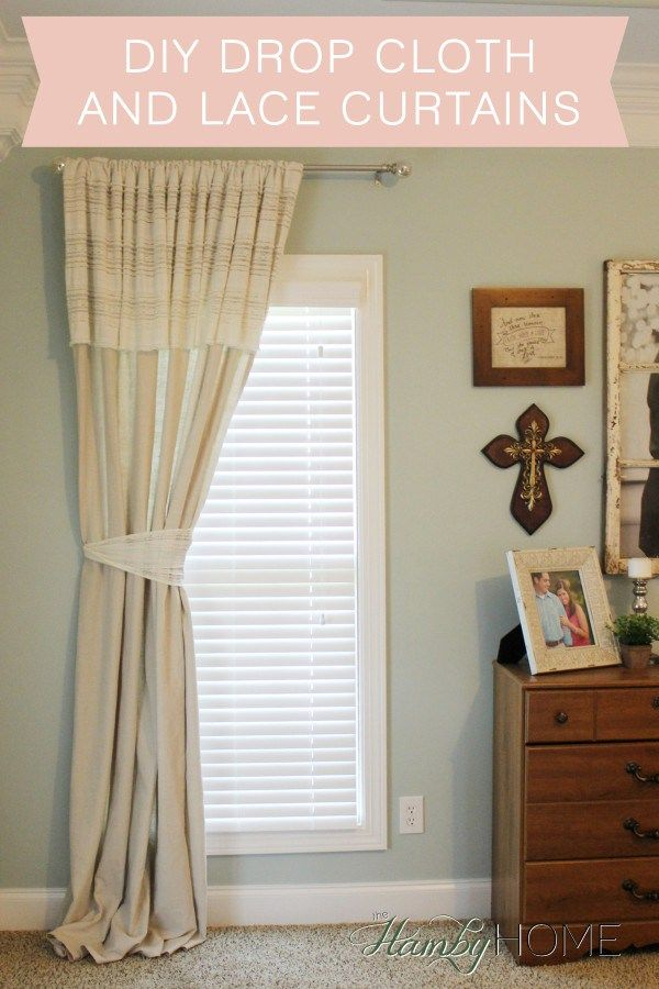 Diy Drop Cloth And Lace No Sew Curtains Hamby Home Diy