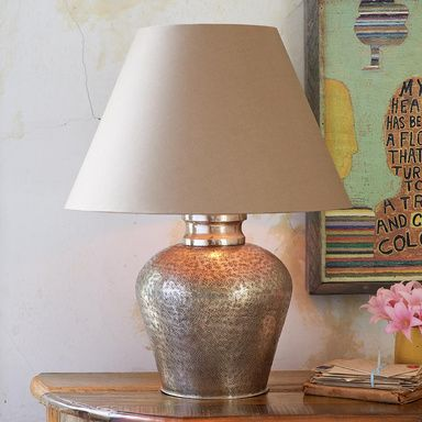 Spirit rock lamp topped with a simple kraft paper shade all the better to spotlight the hand hammered chased brass base our ginger jar lamp is finished to