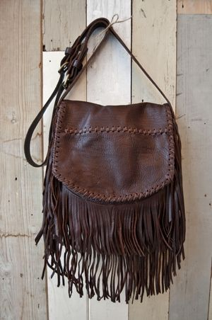 ➳➳➳☮American Hippie Bohemian Boho Bohéme Feathers Gypsy Spirit Style- Fringe Brown Leather Bag