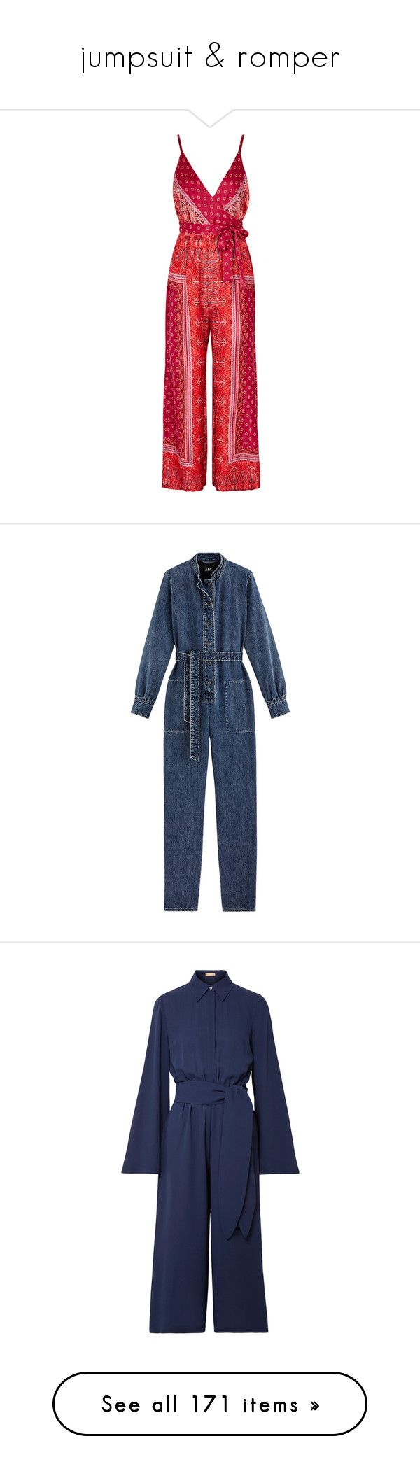 """jumpsuit & romper"" by tinhinane ❤ liked on Polyvore featuring jumpsuits, red jumpsuit, satin jumpsuit, jump suit, free people jumpsuit, multi colored jumpsuit, dresses, jumpsuit, blue jumpsuit and blue jump suit"