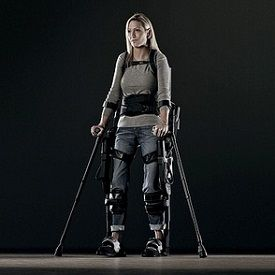 Ekso Bionics Offers a Way Out of the Wheelchair.  Sarah Anderson, who lost the use of her legs in a 2003 car crash, has been tooling around in the Ekso for about a year. Normally reliant on a wheelchair to get around, she's now able to walk upright without human assistance courtesy of the battery-powered suit and a pair of crutches.