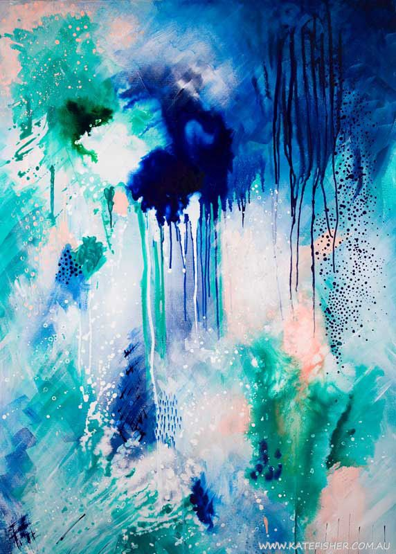 """""""Phthalo Atmosphere 1"""" contemporary abstract wall art print in blue and green - Kate Fisher Art"""