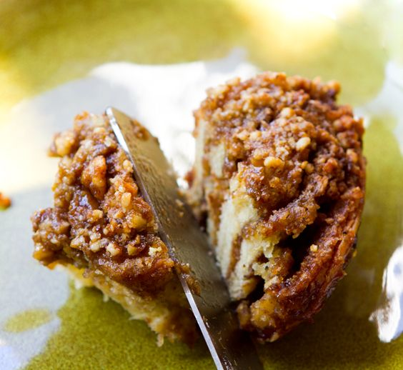 vegan coffee cake cinnamon rolls stuffed with brown sugar-walnut filling